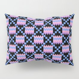 Cornflower Blue, Carnation Pink, Lavender Purple Kente Cloth on Black Pillow Sham