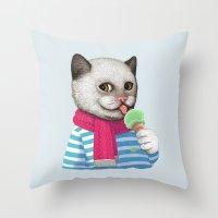 ice cream Throw Pillows featuring Ice cream by Tummeow