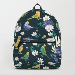 Budgies and Cosmos Flowers on Dark Green Backpack