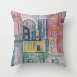 Colored buildings Throw Pillow