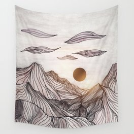 Lines in the mountains Wall Tapestry