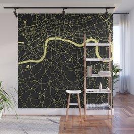 London Black on Yellow Street Map Wall Mural