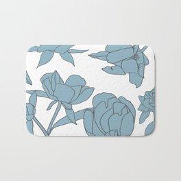 Roses in Blue Bath Mat