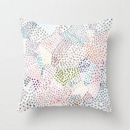 Mermaid Rainbow Dots Colorful Abstract Gems Throw Pillow