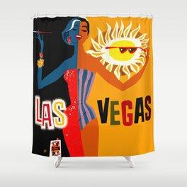 Vintage Las Vegas Travel Poster Shower Curtain