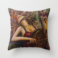 cello Throw Pillows featuring Cello Girl by Megan Bailey Gill
