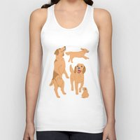 golden retriever Tank Tops featuring Golden Retriever by Tomoko K
