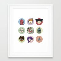 zoidberg Framed Art Prints featuring Planet Express Crew by Thiago Grossmann