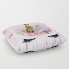 Floral Trendy Modern Unicorn Horn Gold Confetti Floor Pillow