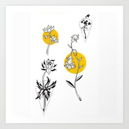 Wildflowers Circular Gold Ink Illustration Art Print