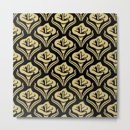 Calla Lily Pattern Black and Gold Metal Print