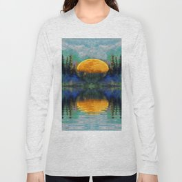 SURREAL RISING GOLDEN MOON BLUE REFLECTIONS Long Sleeve T-shirt