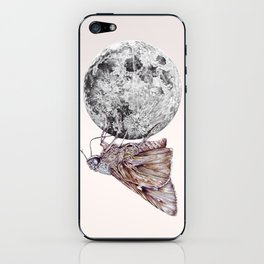 In which a moth is enticed by the light of the moon iPhone Skin