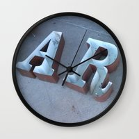 lettering Wall Clocks featuring Lettering by Jenna Allensworth
