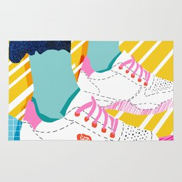 Butter - throwback 80s style vibes shoes fashion sneakers 1980's trend memphis art Rug