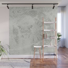Ghostly alpaca and mandala Wall Mural