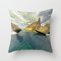 dolphins Throw Pillows featuring Dolphins by nicky2342