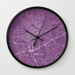 Lowell Map, USA - Purple Wall Clock