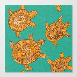 Tropical Sea Turtles Canvas Print