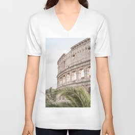 The Roman Colosseum Palm Photo | Italy Travel Photography Art Print In Soft Colors | Architecture In Rome City Unisex V-Neck