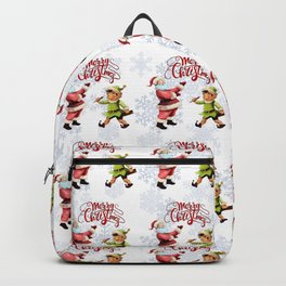 Merry Christmas Embroidery Santa Elf Backpack