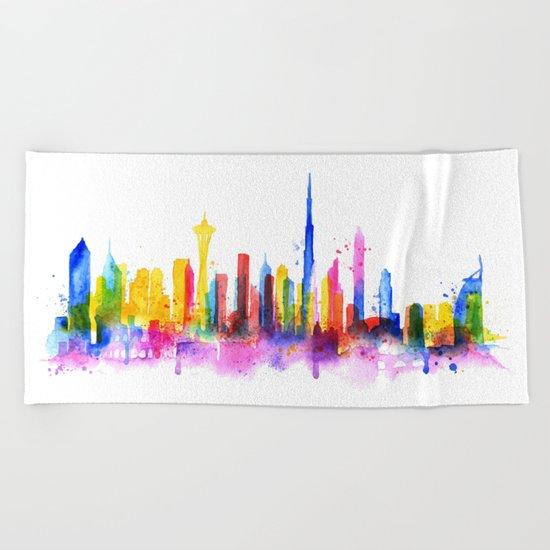 Color Dubai Skyline on White Beach Towel