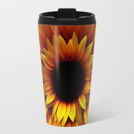 ANTIQUE GOLDEN SUNFLOWER RED MODERN ART Travel Mug