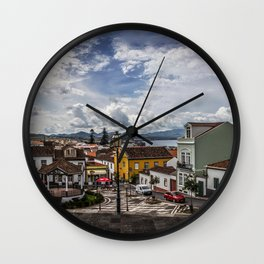 Portugal Town square Ribeira Grande Sao Miguel Azores Street Street lights Houses Cities Building Wall Clock