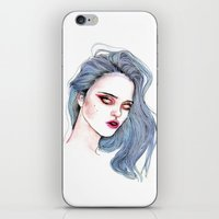sky ferreira iPhone & iPod Skins featuring Sky Ferreira /  Blue  by Lucas David