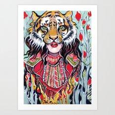 Tiger Woman Art Print
