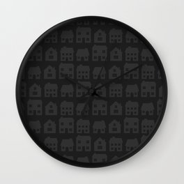 Little Scandi Houses in Dark Gray Wall Clock