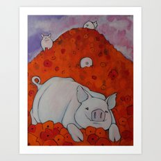 Pigs in Poppies Art Print