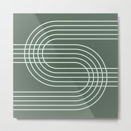 Geometric Lines in Forest Green Metal Print