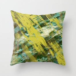 Hidden Meaning - Abstract, oil painting in yellow, green, blue, white and brown Throw Pillow