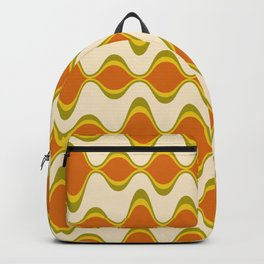 Retro Psychedelic Wavy Pattern in Orange, Yellow, Olive Backpack