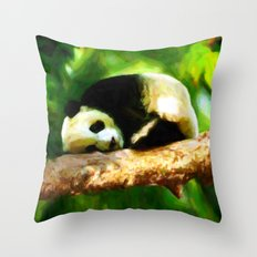 Baby Panda Resting - Painting Style Throw Pillow