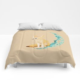 lonely Fennec (blue) Comforters