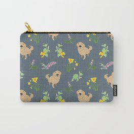 Golden Retriever and Spring Flowers Pattern Print Carry-All Pouch