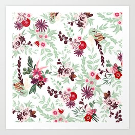 Abstract red pastel green pink country floral pattern Art Print