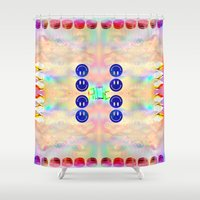 kit king Shower Curtains featuring KIT CAT by Riot Clothing