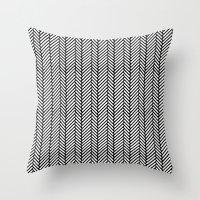 herringbone Throw Pillows featuring Herringbone Black by Project M