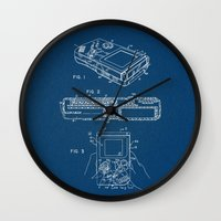 gameboy Wall Clocks featuring Gameboy blue Patent by Patent Drawing