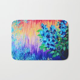 SHADES OF BEAUTIFUL - Stunning Bright BOLD Rainbow Ombre Pattern Blue Floral Hyacinth Nature Autumn Bath Mat