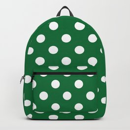 Polka Dots (White & Dark Green Pattern) Backpack
