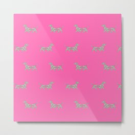 Colorful Swirl Dachshund Print in Hot Pink and Light Green Metal Print