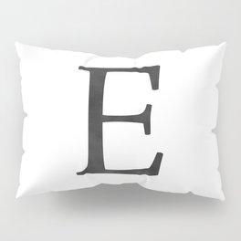 Letter E Initial Monogram Black and White Pillow Sham