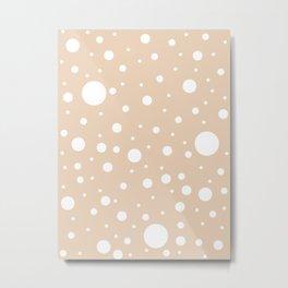 Mixed Polka Dots - White on Pastel Brown Metal Print