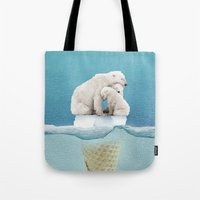 ice Tote Bags featuring polar ice cream cap 02 by Vin Zzep