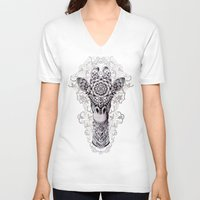 bioworkz V-neck T-shirts featuring Giraffe by BIOWORKZ