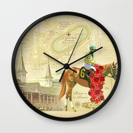 Artistic Kentucky Derby [vintage inspired] Map print Wall Clock